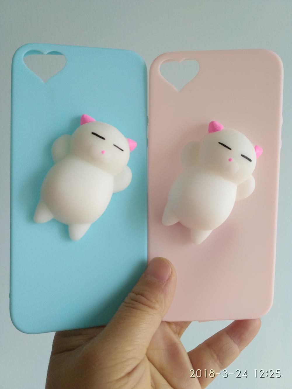 2017 3d Kucing Putih Lucu Squishy Silikon Kasus Telepon Untuk Iphone 5 Se 6 S