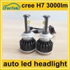 12v auto led headlight kit dual sides 360 beam h7 cree car led 3000lm