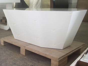 Diamond Design White Color Artificial Marble Stone Coffee Table - Fake marble coffee table