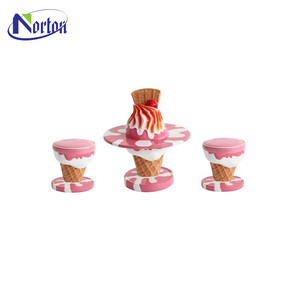 Pink fiberglass ice cream table chairs sculpture for sale NTFV-112Y