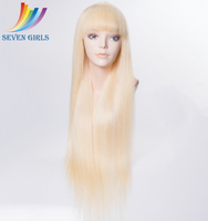 Manufacturer dropship bleached knots elastic band ash blonde color full lace wigs