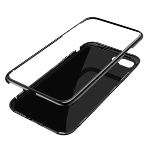 Aluminum Alloy Metal Bumper Magnetic Phone Tempered Glass Case For iPhone 7 8