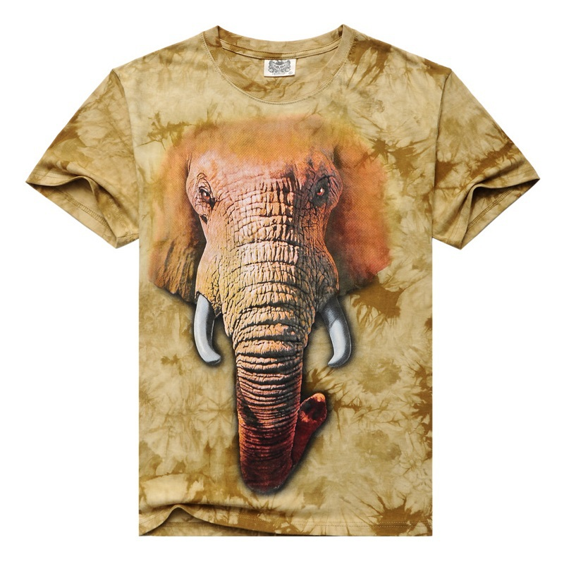 9652dc81 2015 Summer New Men's Short Sleeve T-Shirts 3D Creative Animal Elephant  Printing Men's T