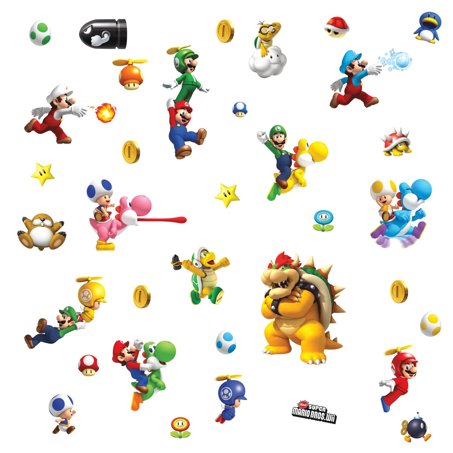 Get quotations · roommates 673scs nintendo super mario peel and stick wall decals