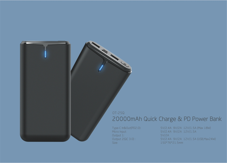 2018 Newest Quick Charge & PD 20000mah Power Bank