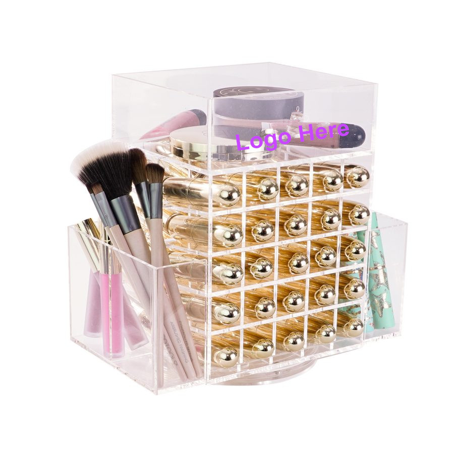 White Makeup Organizer Rotating Acrylic Makeup Organiser Cube Clear White Black Acrylic