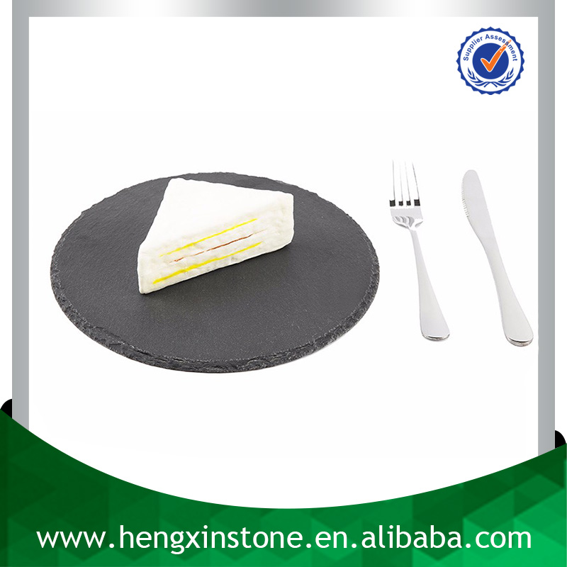 Factory Direct Sales Wholesale Natural Edge Dia25*0.5cm Round Black Slate Plate Stone Plate Slate Cheese Board With Eva Feet