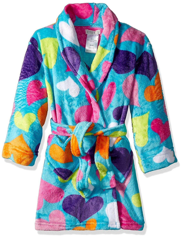 Robe Komar Kids Girls Purple Winter Puppy Dog Luxe Fleece Bathrobe