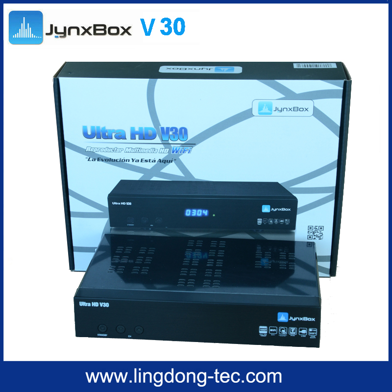 Ultra Hd Satellite Tv Receiver Jynxbox V30 Free Jb200 Module +8psk+turbo + Wifi Dongle for North America Support Atsc Tuner