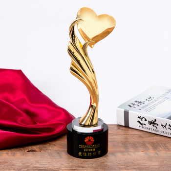 With Black Crystal Base Gold Metal Trophy Designs Sex Heart For Honors Gifts