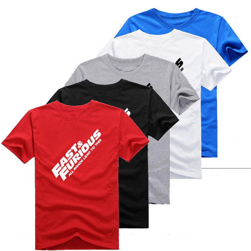 2015 Mens Casual Summer Fast&Furious 7 T-shirts Printed Pattern 100% Cotton Short Sleeve Tee Shirts Tops 5 Colors