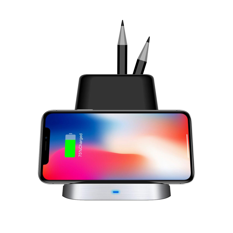 Universal pen houder draadloze oplader 2 coils compatibel snelle Draadloze Opladen qi Stand voor mobiele telefoon