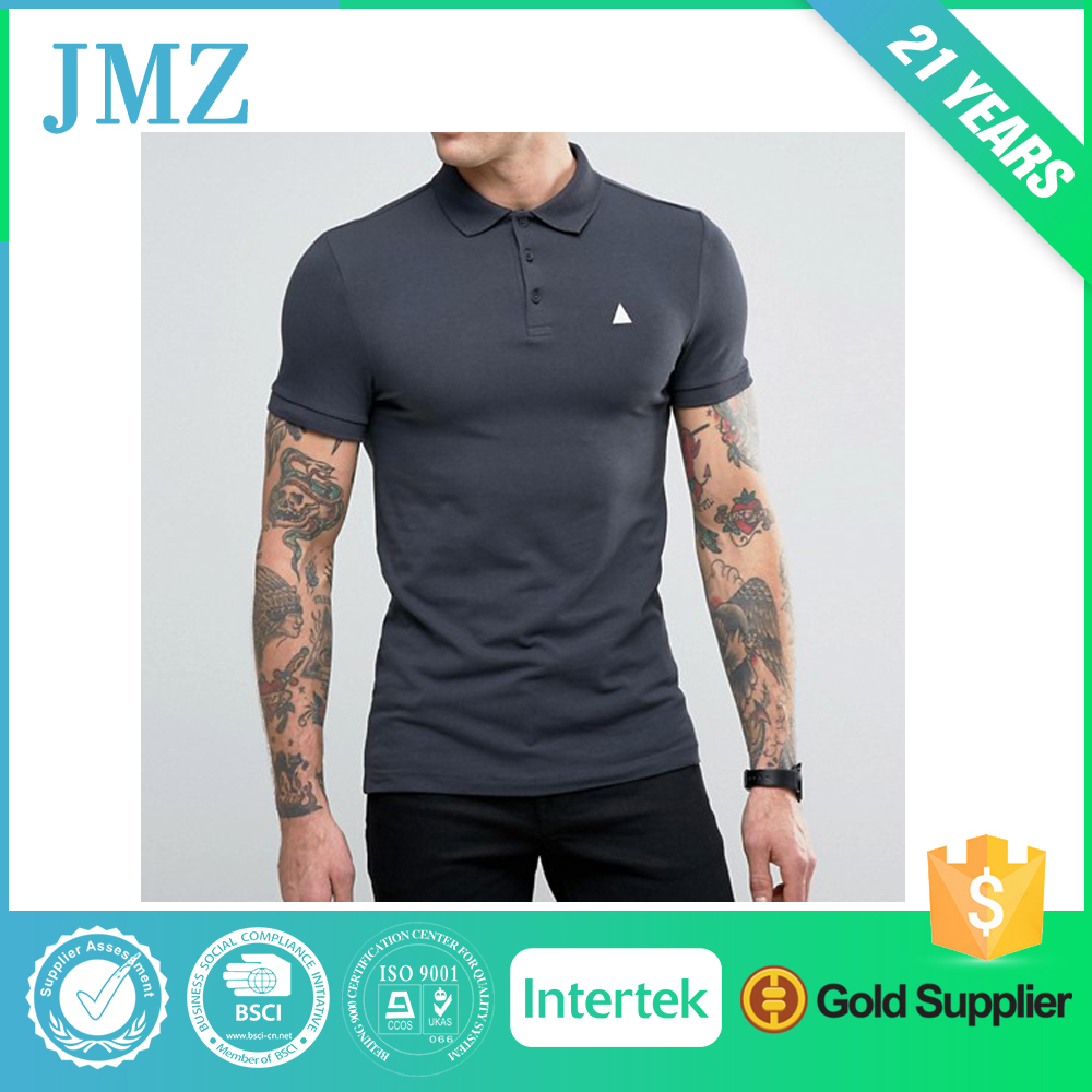 Men plain shirts with customized embroidery logo from Guangdong China
