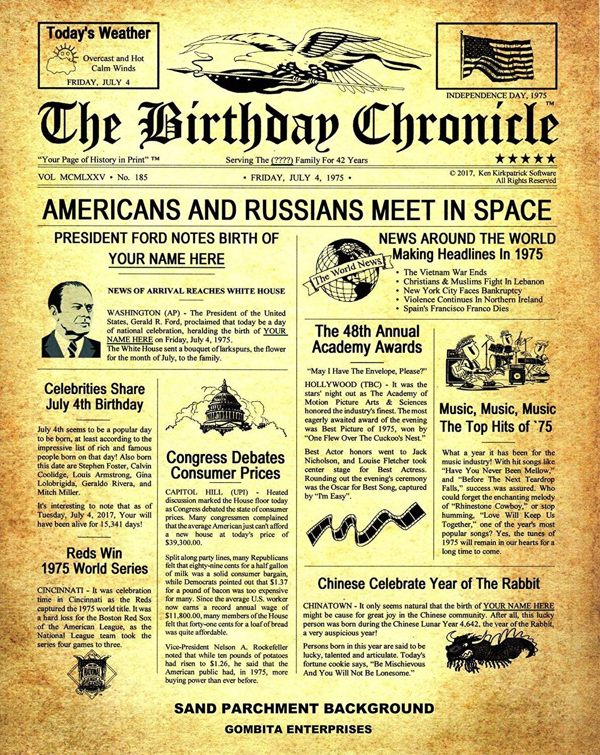 Buy THE BIRTHDAY CHRONICLE - What Happened On Your Birthday Headline