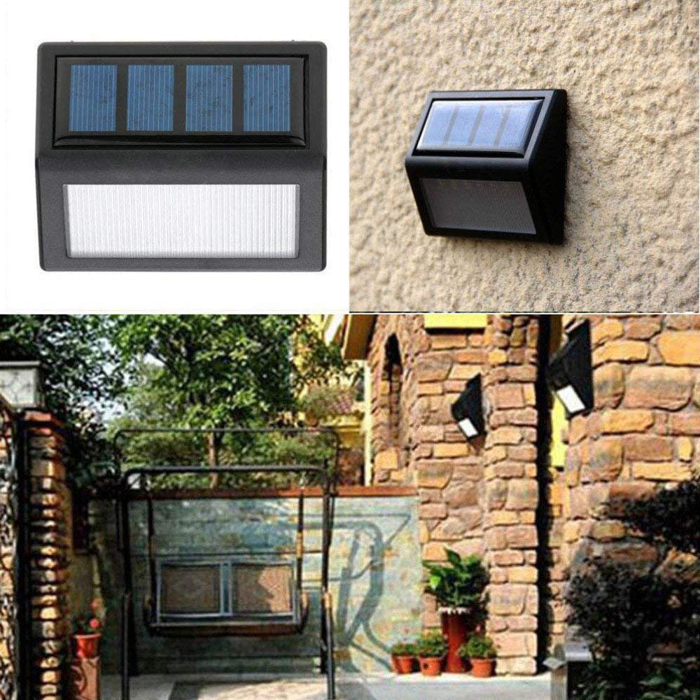 Dressffe Waterproof 6 LED Solar Power PIR Motion Sensor Wall Light Outdoor Garden Lamp, Warm Light