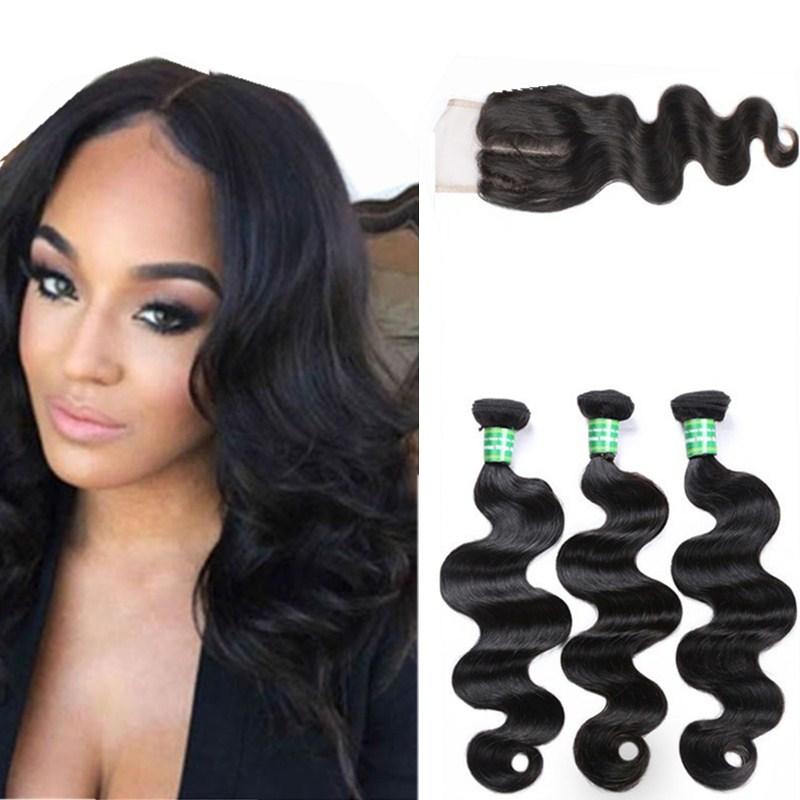 Wholesale Cheap 100% Brazilian Human Hair Body Wave 4*4 Lace Closure Frontal With 3 Bundles