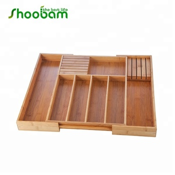 Bamboo Expandable Kitchen Drawer Organizer Cutlery Tray Adjule Wood Utensils Dividers
