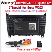 Factory price +RK3188 android 5.1.1 Quad Core CAR DVD player GPS Navigation For Mercedes-Ben-z W203,2004-2007),(W209,2004-2005