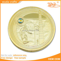 China Gift Promotional commemorative 3D embossed mirror matte shiny finish gold plated token