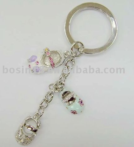 Enamel Baby Shoes keychain/alloy key chains/fashion key rings