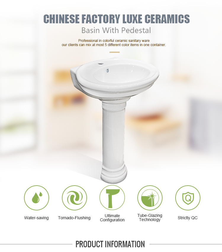 China Wholesale White Color Bathroom Ceramic Pedestal Wash Hand Basin