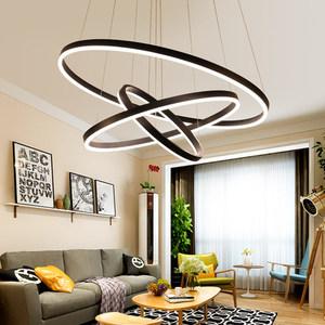 Modern aluminium 40+60+80 acrylic gel black LED 24 inch circle ring pendant