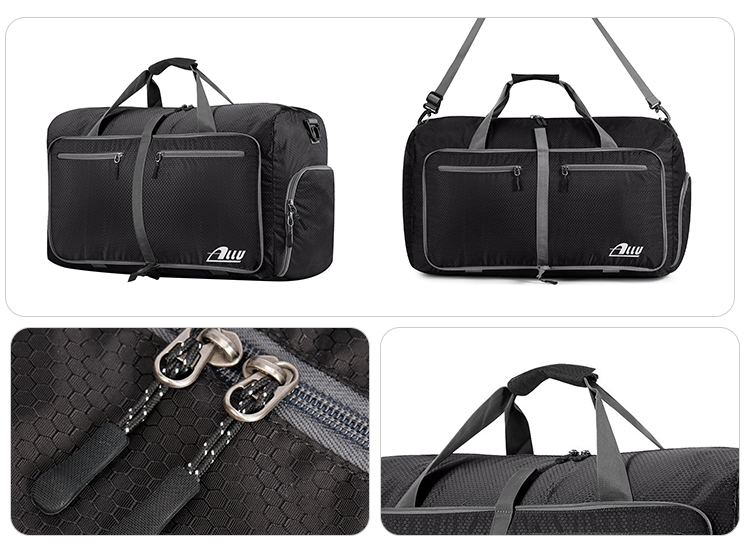Detachable versatility dual-zippers black polyester business trip luggage bag