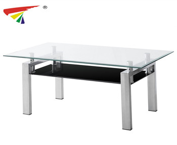 2017 Factory Price Stainless Steel Tea Table Design Tempered Glass