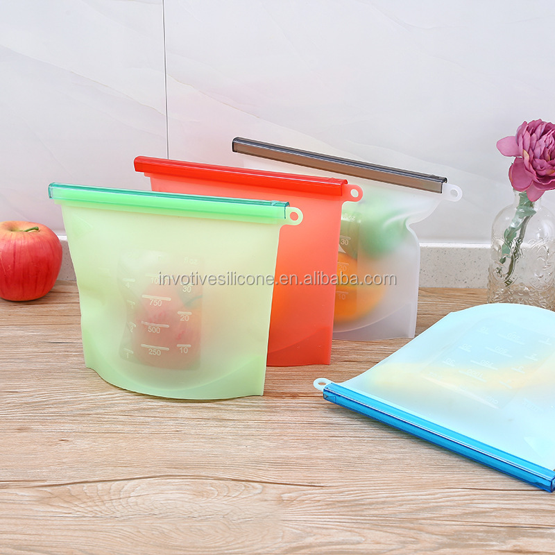 Food grade BPA free reusable silicone ziplock food storage preservation bag