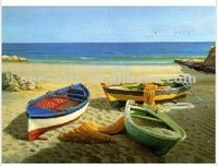 beach boat still life oil canvas painting