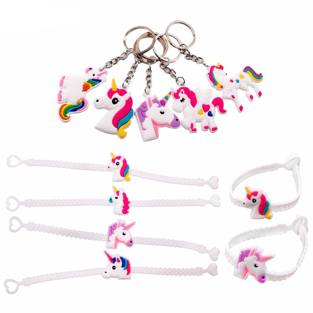 FENGRISE Kids Birthday Party Favors Unicorn Rubber Bracelet Unicorn Party Supplies Unicorn Wristband Cute Key Chain