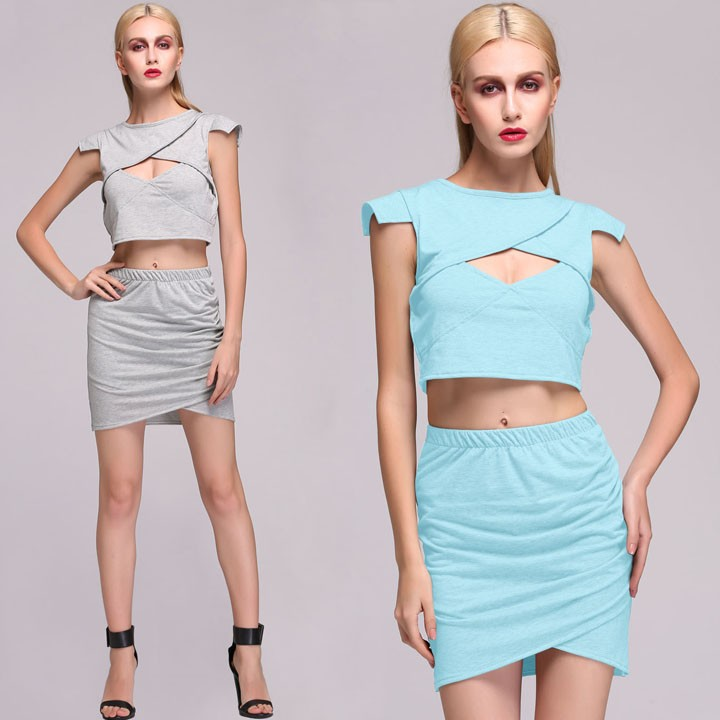 Stylish Sexy Lady's Bodycon Front Hole Short crop top and skirt set SV013407