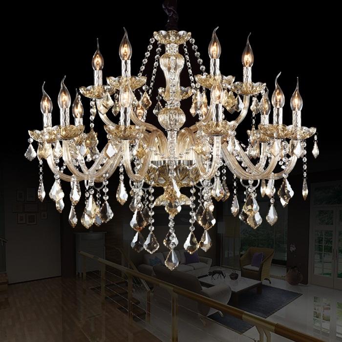 15 Arm Chandelier Lighting FREE SHIPPING Luxury Modern crystal Lights Candel Large crystal Chandelier Light top