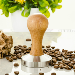 oak wood handle stainless steel 58MM Espresso power press coffee tamper espresso