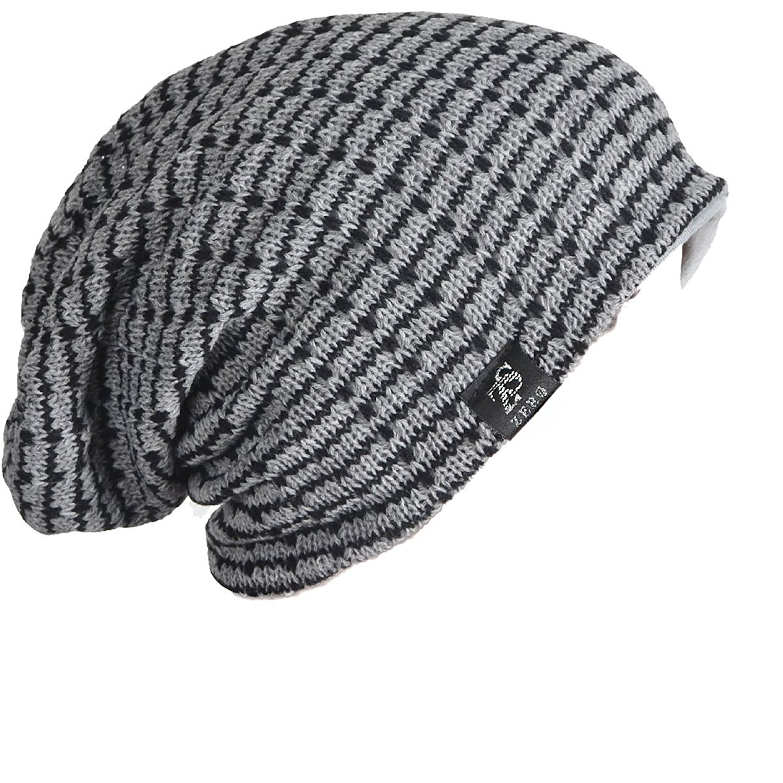 5fc610149a76e8 Buy Z&s Chic Slouch Creases Long Beanie Knit Hat Skull Ski Cap Black ...