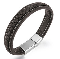 Fashionable Style Woven Genuine Stainless Steel Magnet Buckle Aliexpress Mens Leather Bracelet Wholesale