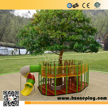 Kids outdoor custom wooden tree house creative tube slide park playground equipment