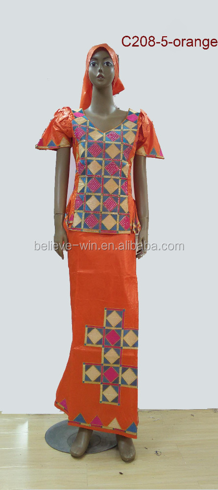 africa bazin dresses guinea clothes for women oF C208 <strong>orange</strong>