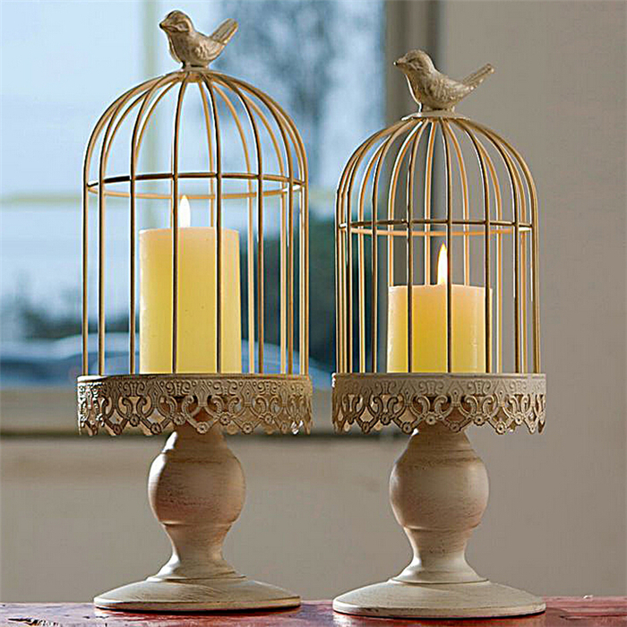 European Mediterranean iron ornaments bird Cage metal candle holder