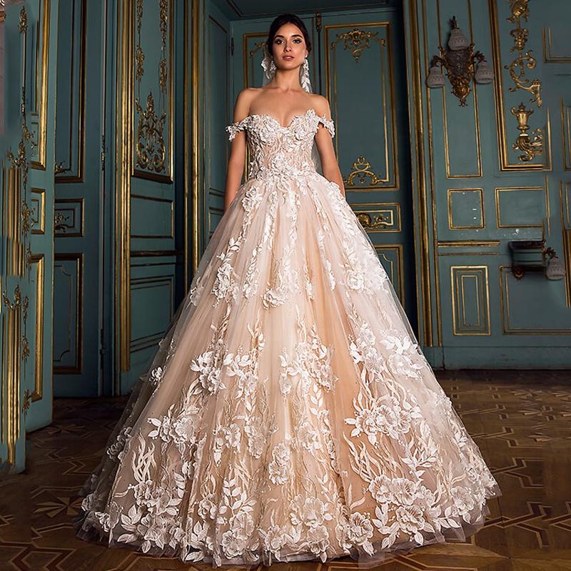 Magnifique 3d Florale Appliques Robe De Mariee Epaule Princesse Robe De Mariee Dentelle Francaise Mariee Robes 2019 Robe De Noiva Buy Plus La Taille