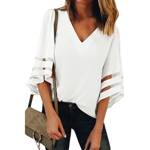 Womens tops blouses 2018 White Flare Sleeve V Neck Loose blouse women ladies
