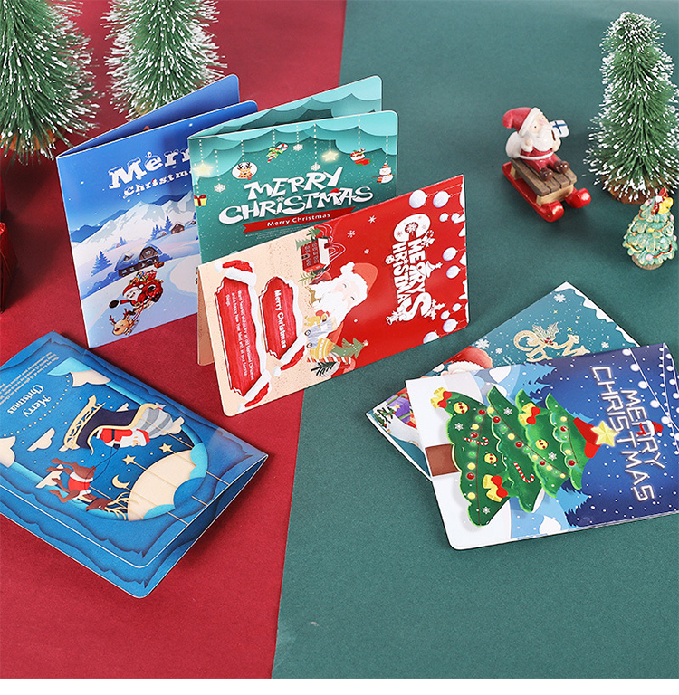 Custom Design Coated Paper Pack Merry Christmas Gratitude Cards