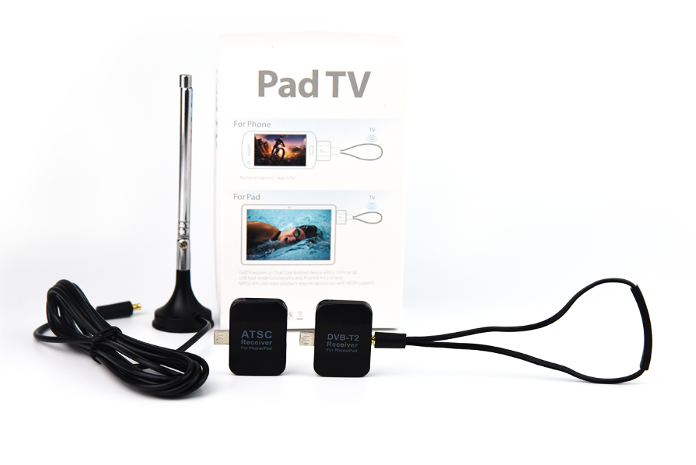 DVB-T2/ATSC/ISDB/DTMB Watch TV On Android Phone micro usb dongle Pad/Phone Outside TV Tuner
