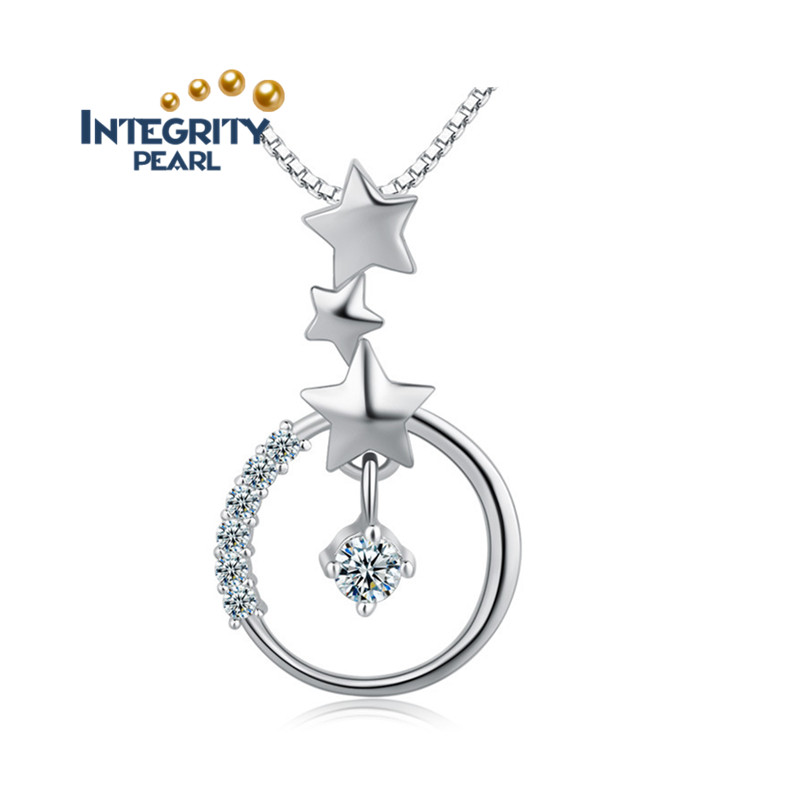 SCI096 circle pendant meaning with star shine pendant sterling silver jewelry