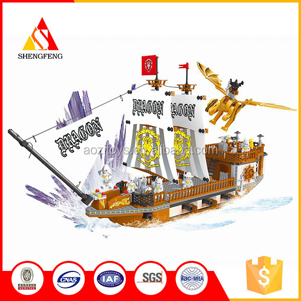 Hot Sale diy educational plastic building blocks toy for pirate