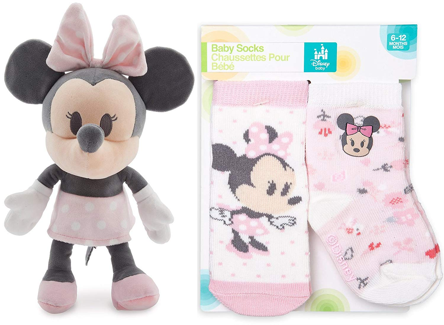 Minnie Mouse Set for Baby 2-Pack Disney Pink Sock Set with Figaro & Minnie Mouse Plush for Baby Velvety Soft Super Cute Collection