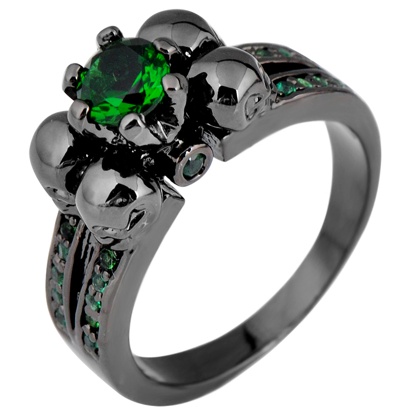 Classic Skeleton Head Emerald Green Topaz Stone Ring Men Zircon Wedding Engagement Ring Band Woman 10kt Black Gold Filled Rings