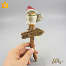 Hot Selling Imported Handmade Owl Resin Figurine China Personalized Christmas Ornaments