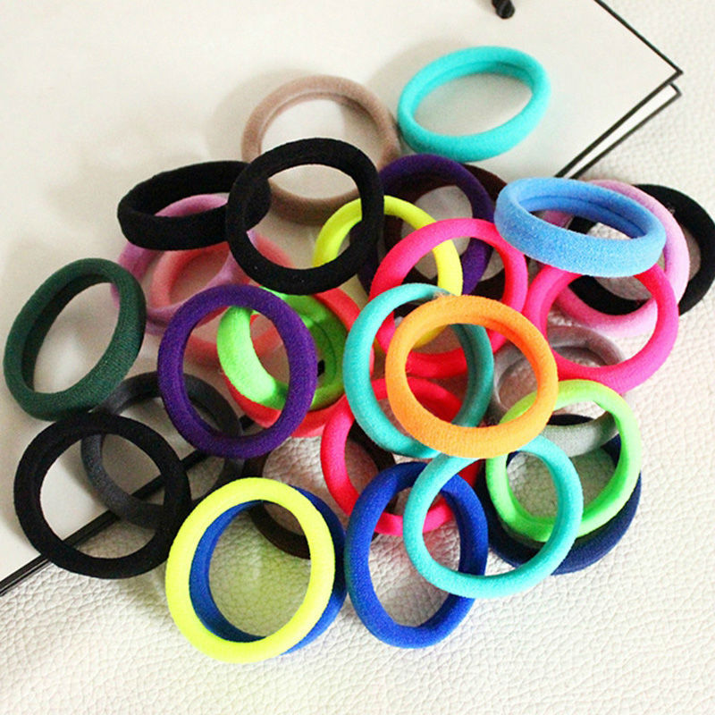100 Pcs Colors Silicone Rubber Elastic Hairband Women Hair