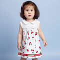 Hot Sale Fashion Children Clothing Summer Dress 6M 4T Girls Sleeveless Dresses Bow Designs Cherry Print